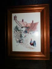 PINE FRAMED PRINT MICHAEL COOPER COOPER'S COUNTRYSIDE ROOSTER CHICKEN YARD #2